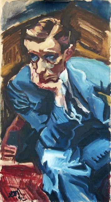 Junger Mann in blauem Anzug, 1912 Öl auf Leinwand, 81 × 44,5 cm Kunsthalle Bremen – Der Kunstverein in Bremen, © Ludwig Meidner-Archiv, Jüdisches Museum der Stadt Frankfurt am Main