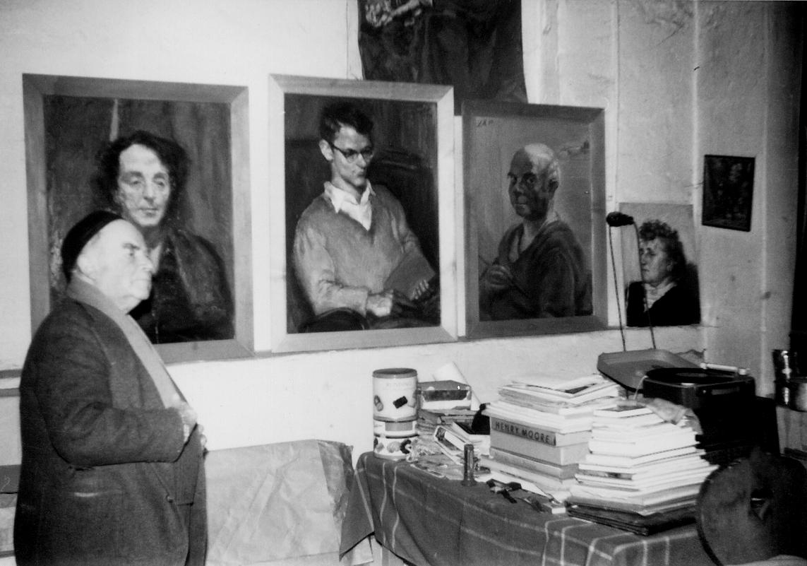 Innenansicht des Marxheimer Ateliers in der Bahnstraße 15, um 1958. Foto: Stadtarchiv Hofheim.