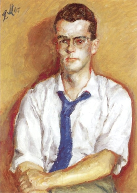 Ludwig Meidner, Young man with blue necktie, 1965, oil on cardboard, Ludwig Meidner-Archiv, Jüdisches Museum Frankfurt