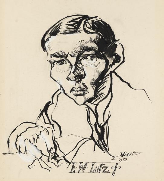 Ludwig Meidner, Portrait Ernst Wilhelm Lotz, 1913, Institut Mathildenhöhe Darmstadt / Darmstadt Municipal Art Collection