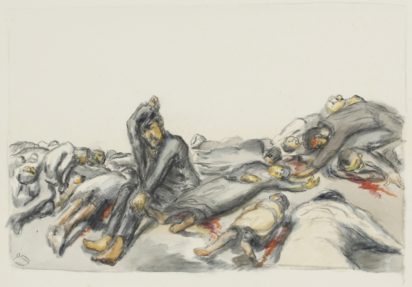 "Ludwig Meidner, Untitled (from the series ""Massacres in Poland""), ca. 1942-45, watercolor over charcoal, Ludwig Meidner Archive, Jewish Museum Frankfurt, photo: Uwe Dettmar, Frankfurt"